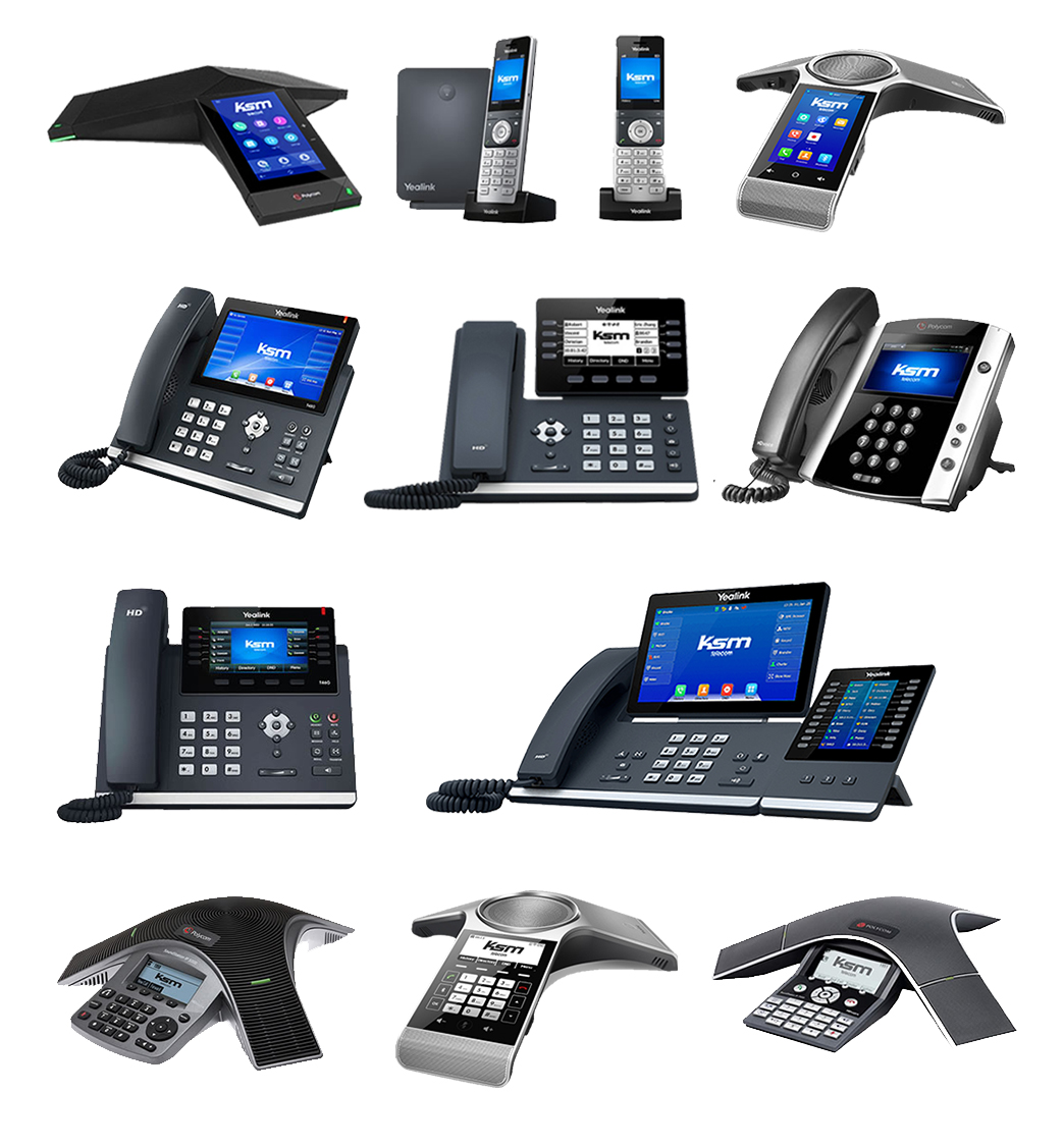 A collection of Yealink handset products.
